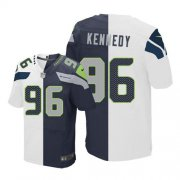 Wholesale Cheap Nike Seahawks #96 Cortez Kennedy White/Steel Blue Men's Stitched NFL Elite Split Jersey