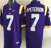 Wholesale Cheap LSU Tigers #7 Patrick Peterson Purple 2015 College Football Nike Limited Jersey