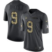 Wholesale Cheap Nike Saints #9 Drew Brees Black Youth Stitched NFL Limited 2016 Salute to Service Jersey