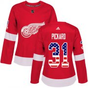 Wholesale Cheap Adidas Red Wings #31 Calvin Pickard Red Home Authentic USA Flag Women's Stitched NHL Jersey