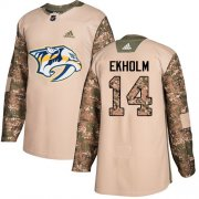 Wholesale Cheap Adidas Predators #14 Mattias Ekholm Camo Authentic 2017 Veterans Day Stitched Youth NHL Jersey