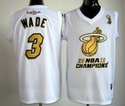 Wholesale Cheap Miami Heat #3 Dwyane Wade 2012 NBA Finals Champions White With Gold Jersey