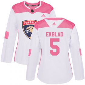 Wholesale Cheap Adidas Panthers #5 Aaron Ekblad White/Pink Authentic Fashion Women\'s Stitched NHL Jersey