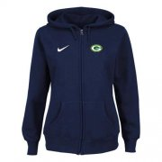 Wholesale Cheap Nike Green Bay Packers Ladies Tailgater Full Zip Hoodie Blue