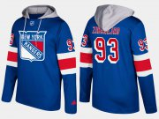 Wholesale Cheap Rangers #93 Mika Zibanejad Blue Name And Number Hoodie