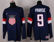 Wholesale Cheap 2014 Olympic Team USA #9 Zach Parise Navy Blue Stitched NHL Jersey