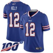 Wholesale Cheap Nike Bills #12 Jim Kelly Royal Blue Team Color Men's Stitched NFL 100th Season Vapor Limited Jersey