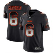 Wholesale Cheap Nike Browns #6 Baker Mayfield Black Men's Stitched NFL Vapor Untouchable Limited Smoke Fashion Jersey
