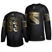 Wholesale Cheap Adidas Rangers #93 Mika Zibanejad Men's 2019 Black Golden Edition Authentic Stitched NHL Jersey