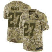 Wholesale Cheap Nike Browns #27 Kareem Hunt Camo Men's Stitched NFL Limited 2018 Salute To Service Jersey