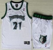 Wholesale Cheap Minnesota Timberwolves #21 Kevin Garnett White Hardwood Classics Revolution 30 Jersey Short