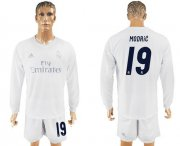 Wholesale Cheap Real Madrid #19 Modric Marine Environmental Protection Home Long Sleeves Soccer Club Jersey