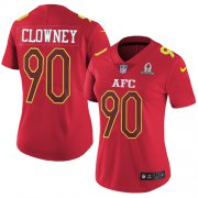 Wholesale Cheap Nike Texans #90 Jadeveon Clowney Red Women's Stitched NFL Limited AFC 2017 Pro Bowl Jersey