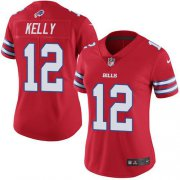 Wholesale Cheap Nike Bills #12 Jim Kelly Red Women's Stitched NFL Limited Rush Jersey
