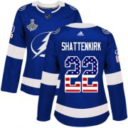 Cheap Adidas Lightning #22 Kevin Shattenkirk Blue Home Authentic USA Flag Women's 2020 Stanley Cup Champions Stitched NHL Jersey