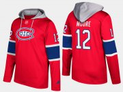 Wholesale Cheap Canadiens #12 Dickie Moore Red Name And Number Hoodie