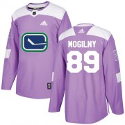 Wholesale Cheap Adidas Canucks #89 Alexander Mogilny Purple Authentic Fights Cancer Stitched NHL Jersey