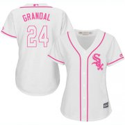 Wholesale Cheap White Sox #24 Yasmani Grandal White/Pink Fashion Women's Stitched MLB Jersey