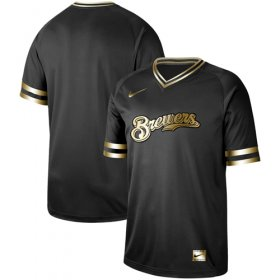 Wholesale Cheap Nike Brewers Blank Black Gold Authentic Stitched MLB Jersey