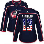 Wholesale Cheap Adidas Blue Jackets #13 Cam Atkinson Navy Blue Home Authentic USA Flag Women's Stitched NHL Jersey