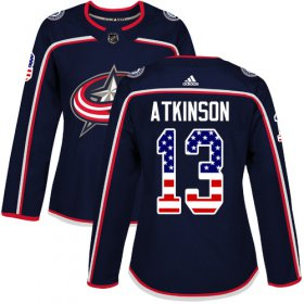 Wholesale Cheap Adidas Blue Jackets #13 Cam Atkinson Navy Blue Home Authentic USA Flag Women\'s Stitched NHL Jersey