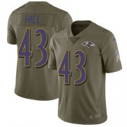 Wholesale Cheap Nike Ravens #43 Justice Hill Olive Youth Stitched NFL Limited 2017 Salute To Service Jersey