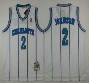 Wholesale Cheap Men's Charlotte Hornets #2 Larry Johnson 1992-93 White Hardwood Classics Soul Swingman Throwback Jersey