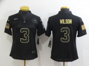 Wholesale Cheap Women's Seattle Seahawks #3 Russell Wilson Black 2020 Salute To Service Stitched NFL Nike Limited Jersey