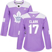 Wholesale Cheap Adidas Maple Leafs #17 Wendel Clark Purple Authentic Fights Cancer Women's Stitched NHL Jersey