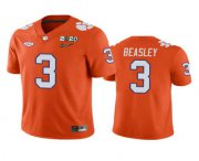 Wholesale Cheap Men's Clemson Tigers #3 Vic Beasley Orange 2020 National Championship Game Jersey