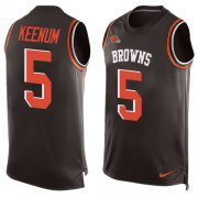 Wholesale Cheap Nike Browns #5 Case Keenum Brown Team Color Men's Stitched NFL Limited Tank Top Jersey