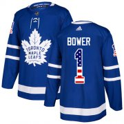Wholesale Cheap Adidas Maple Leafs #1 Johnny Bower Blue Home Authentic USA Flag Stitched NHL Jersey