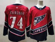 Wholesale Cheap Men's Washington Capitals #74 John Carlson Red 2021 Retro Stitched NHL Jersey