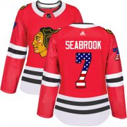 Wholesale Cheap Adidas Blackhawks #7 Brent Seabrook Red Home Authentic USA Flag Women's Stitched NHL Jersey