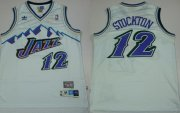 Wholesale Cheap Utah Jazz #12 John Stockton Mountain White Throwback Swingman Jersey