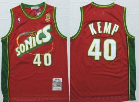 Wholesale Cheap Men\'s Seattle Supersonics #40 Shawn Kemp 1997-98 Red Hardwood Classics Soul Swingman Throwback Jersey