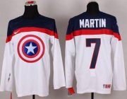 Wholesale Cheap Olympic Team USA #7 Paul Martin White Captain America Fashion Stitched NHL Jersey