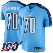 Wholesale Cheap Nike Titans #70 Ty Sambrailo Light Blue Youth Stitched NFL Limited Rush 100th Season Jersey