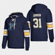 Wholesale Cheap St. Louis Blues #31 Chad Johnson Blue adidas Lace-Up Pullover Hoodie