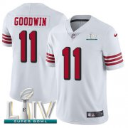 Wholesale Cheap Nike 49ers #11 Marquise Goodwin White Super Bowl LIV 2020 Rush Men's Stitched NFL Vapor Untouchable Limited Jersey