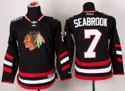 Wholesale Cheap Blackhawks #7 Brent Seabrook Black 2014 Stadium Series Stitched Youth NHL Jersey