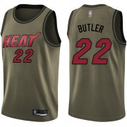 Wholesale Cheap Heat #22 Jimmy Butler Green Basketball Swingman Salute to Service Jersey