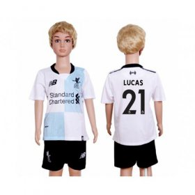 Wholesale Cheap Liverpool #21 Lucas Away Kid Soccer Club Jersey