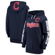 Wholesale Cheap Cleveland Indians G-III 4Her by Carl Banks Women's Extra Innings Pullover Hoodie Navy