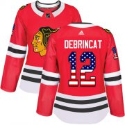 Wholesale Cheap Adidas Blackhawks #12 Alex DeBrincat Red Home Authentic USA Flag Women's Stitched NHL Jersey