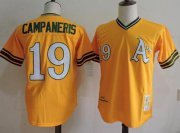 Wholesale Cheap Mitchell And Ness Athletics #19 Bert Campaneris Yellow Throwback Stitched MLB Jersey