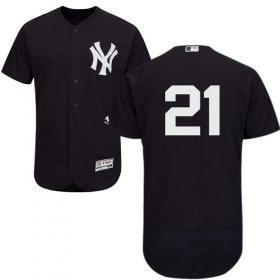 Wholesale Cheap Yankees #21 Paul O\'Neill Navy Blue Flexbase Authentic Collection Stitched MLB Jersey