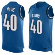 Wholesale Cheap Nike Lions #40 Jarrad Davis Blue Team Color Men's Stitched NFL Limited Tank Top Jersey
