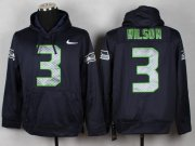 Wholesale Cheap Seattle Seahawks #3 Russell Wilson Blue Pullover NFL Hoodie