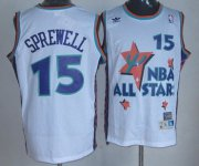Wholesale Cheap NBA 1995 All-Star #15 Latrell Sprewell White Hardwood Classics Soul Swingman Throwback Jersey
